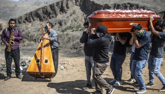 Relatives carry the coffin of a suspected COVID-19 victim as musicians play at the Nueva Esperanza cemetery, one of the largest in Latin America, in the southern outskirts of Lima on May 30, 2020. (Photo by ERNESTO BENAVIDES / AFP)
