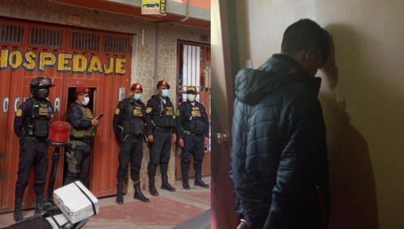 Juliaca: Capturan a policía en hospedaje tras ser acusado de ultrajar a menor de 7 años (Foto: PNP)