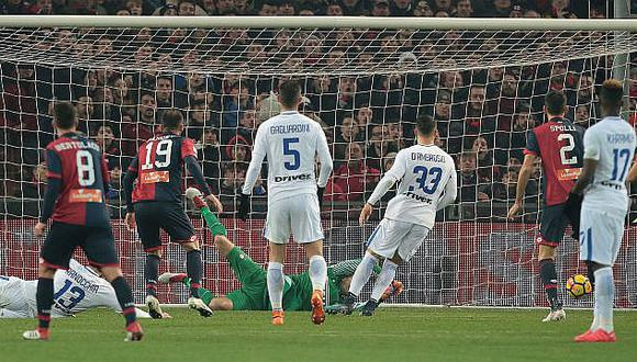 Génova, con Gianluca Lapadula en la cancha, vence 0-2 al Inter