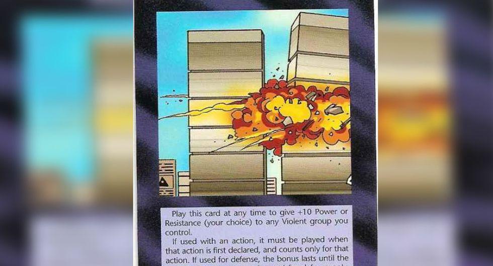 Otra de las cartas del juego de Steve Jackson fue la del atentado a las Torres Gemelas que ocurrió 6 años después de que lanzara esta versión. | Foto: SJ Games