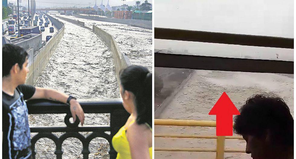 Río Rímac inunda Parque de la Muralla y luce así en estos momentos