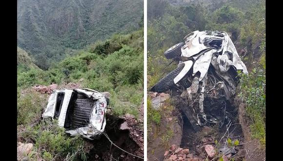 Camioneta quedó destrozada tras caer a abismo, en Apurímac