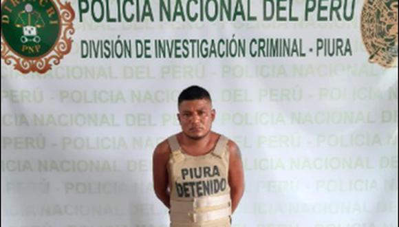 Piura. Jasber Paredes Alcántara fue capturado junto a cuatro mujeres. (PNP)