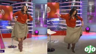 Rebeca Escribens se resbala y casi cae cuando bailaba marinera en pleno programa en vivo