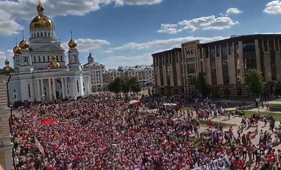 Perú vs. Dinamarca: hinchas peruanos invaden Saransk