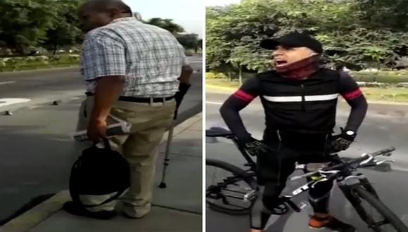 Ciclista insulta a mujer que estaba ayudando a un discapacitado a cruzar la pista (VIDEO)