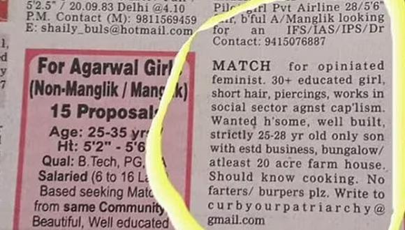 Este curioso anuncio de una mujer buscando un hombre sin pedos ni eructos tiene una explicación (Foto: BBC)