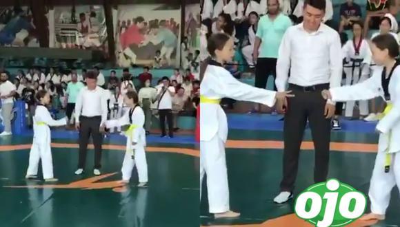 Un video viral muestra el curioso desenlace del enfrentamiento entre dos gemelas en la final de un torneo de Taekwondo y que se rehusaron a pelear la una con la otra.   Crédito: @ActualidadRT / Twitter