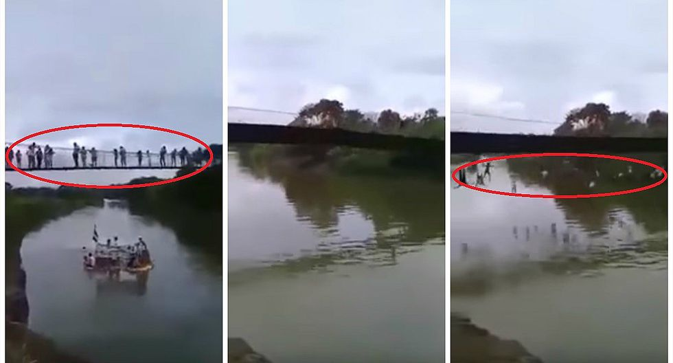 Ecuador: video capta precisos momentos en que puente lleno de personas se desploma