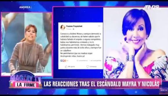 Magaly Medina se mostró en contra del pronunciamiento de la actriz Yvonne Frayssinet a favor de Andrés Wiese. (Foto: captura video)