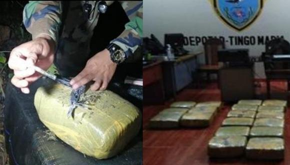 Huánuco: PNP encuentra más de 104 kilos de marihuana abandonados entre vegetación (Foto: PNP)