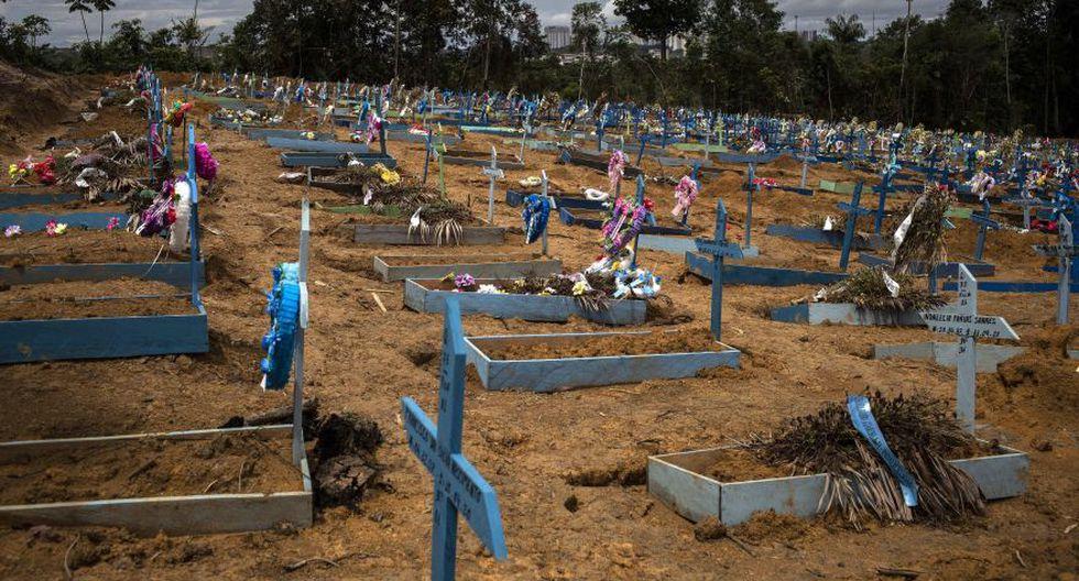 Fotografía de una sección destinada para víctimas del COVID-19 en el cementerio Nossa Senhora Aparecida, en Manaos, estado Amazonas (Brasil). (Foto: EFE/ Raphael Alves).