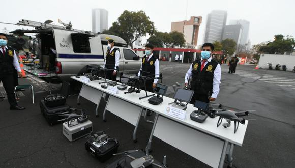 Drones fueron mostrados esta mañana por el Comandante General de la Policía Nacional, Héctor Loayza. (MININTER)