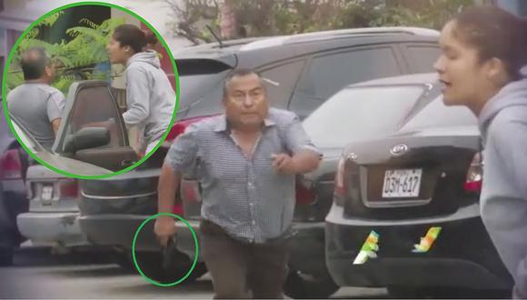 Policía en retiro amenaza con pistola en mano a su ex solo porque le pidió la pensión de su hijo (VIDEO)