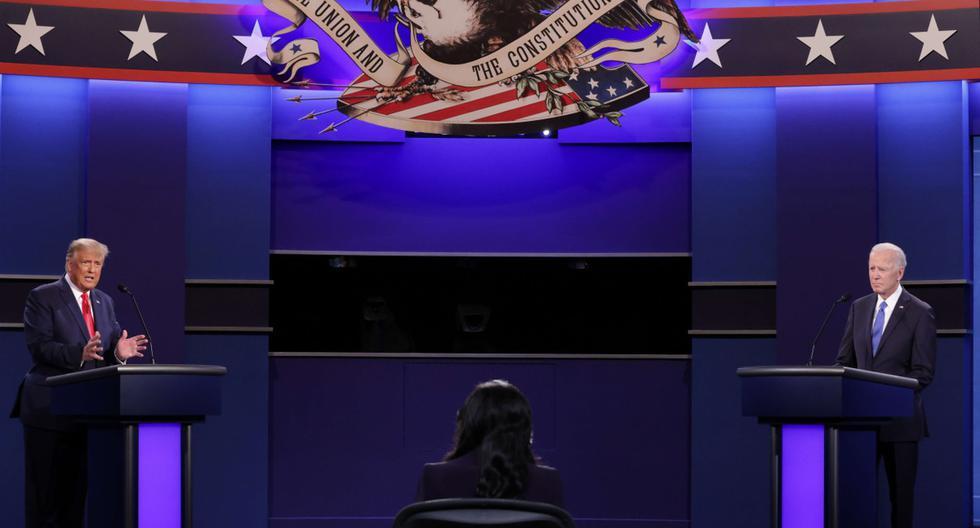 El último debate entre el presidente de Estados Unidos, Donald Trump, y su rival demócrata, Joe Biden, antes de las elecciones del 3 de noviembre comenzó este jueves en Nashville. (Chip Somodevilla/Getty Images/AFP).
