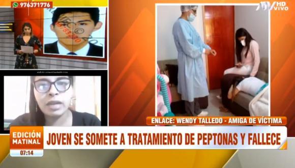 En la imagen Luis Jerí, Wendy Talledo y la cosmiatra Rocío Jerí durante previo al procedimiento de la aplicación de peptonas a Beatriz Soto. (Captura de televisión)