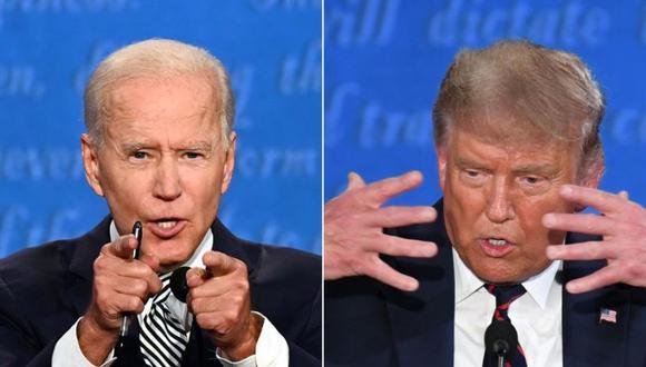 """Joe Biden llama """"payaso"""" a Donald Trump durante el debate. (Fotos: Jim WATSON y SAUL LOEB / AFP)."""