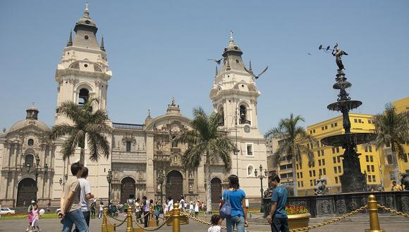 Catedral de Lima en la Plaza de Armas de la Ciudad.