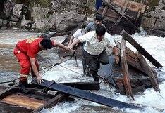 Pasco: dos muertos y tres heridos dejó el colapso de un puente colgante el distrito Villa Rica