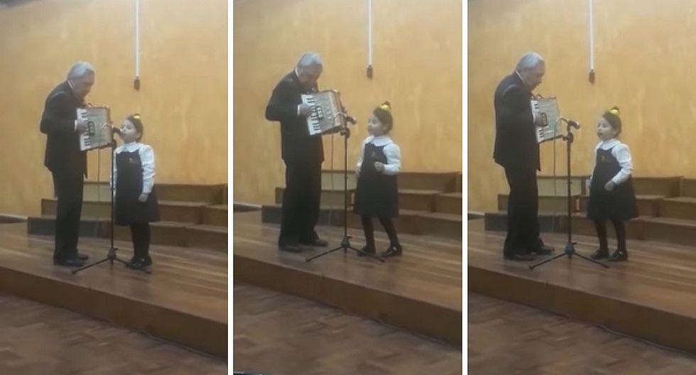 Niña cautiva a todos cantando en quechua al lado de su abuelo (VIDEO)