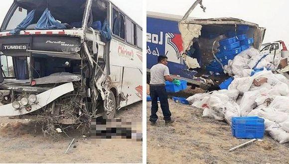 Choque entre bus interprovincial y camión deja 3 muertos en Piura | VÍDEO