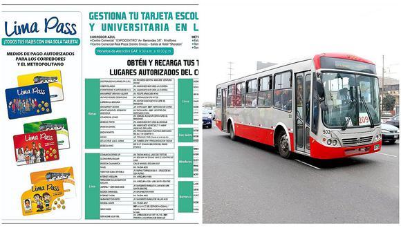 Lima Pass: Conoce aquí los puntos de venta y recarga de la tarjeta para usar en el corredor