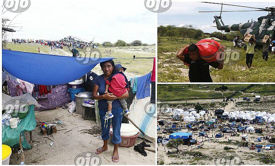¡Refugiados en el desierto! Familias enteras ocupan arenal fuera de Piura