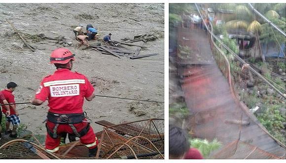 Al menos diez desaparecidos deja caída de un puente en el Vraem (FOTOS)