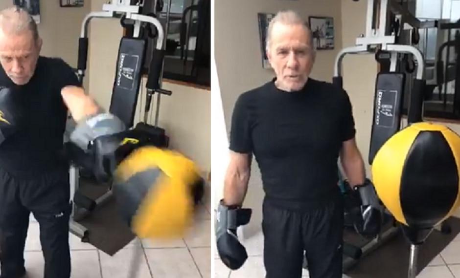 Ricardo Belmont hace ejercicio y box en el día de las elecciones