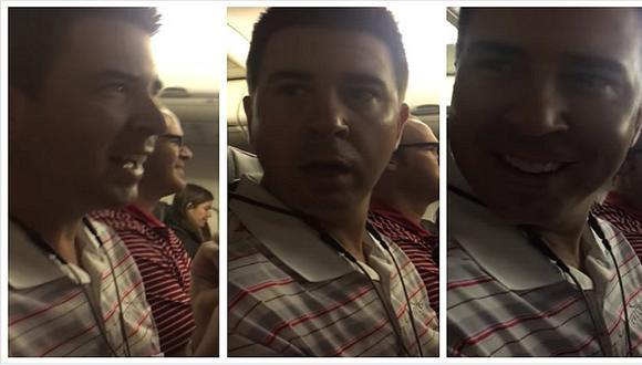 Se entera que será papá gracias a anuncio del piloto en un avión (VIDEO)