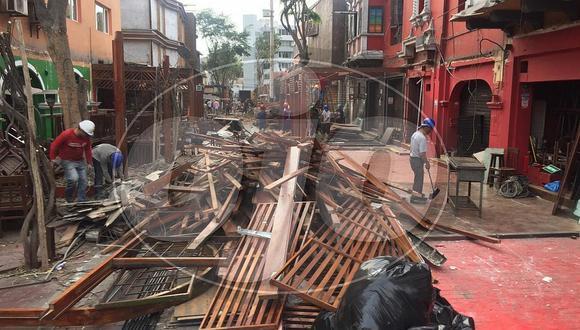 Municipalidad de Miraflores demuele terrazas de las Calles de las Pizzas (VIDEO)