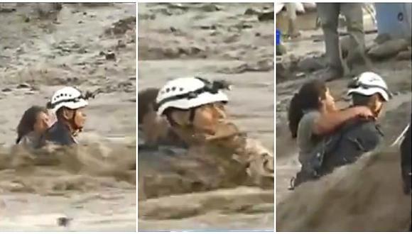 Carapongo: trataron de rescatar a mujer durante huaico pero de pronto sucedió esto (VIDEO)