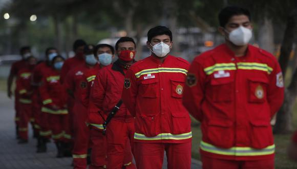 Miembros del Cuerpo General de Bomberos Voluntarios del Perú sería vacunados contra el coronavirus en abril. (Foto: César Grados/GEC)