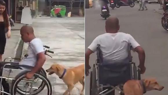 El conmovedor video de un fiel perrito ayudando a su dueño en silla de ruedas (VIDEO)