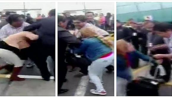 Mujer atacó a supuesta amante de su esposo en aeropuerto Jorge Chávez (VIDEO)