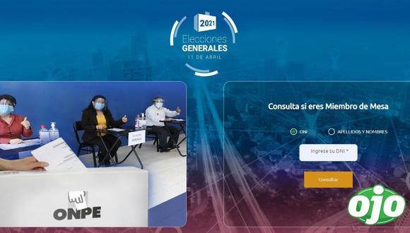 El portal de la ONPE para ver si uno es miembro de mesa solo requiere nombre o número de DNI.