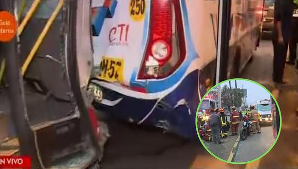 Choque de buses y un motociclista en avenida Javier Prado deja 6 heridos | VÍDEO