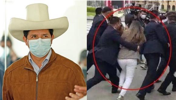 La reportera Tifanny Tipiani fue bruscamente apartada por la seguridad del presidente Pedro Castillo cuando intentaba hacerle una pregunta (Fotos: Presidencia Perú / Captura).