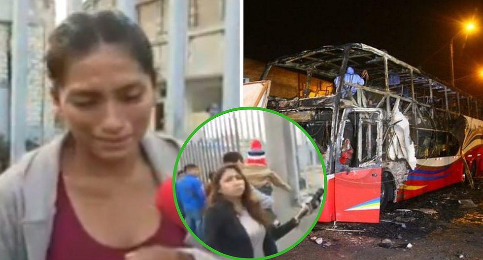 Reportera se quiebra al ver a madre llorar por muerte de su bebé dentro del bus incendiado en Fiori