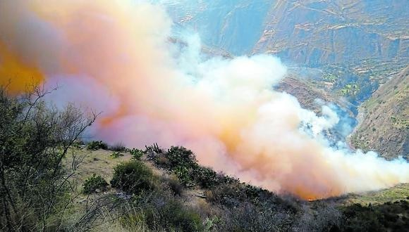 Huancavelica: efectivos policiales iniciaron las investigaciones para dar con los responsables de inicio del incendio forestal. (Foto: Difusión)