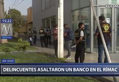 Rímac: seis delincuentes armados asaltaron agencia bancaria en la Av. Amancaes