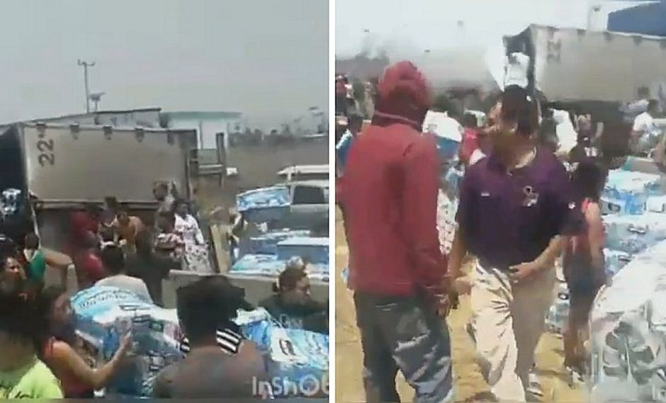 Camión con papeles higiénicos se volcó y pobladores hicieron de las suyas (VIDEO)