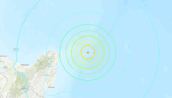 Terremoto de magnitud 7,2 sacude Nueva Zelanda y se emite alerta de tsunami. (USGS).