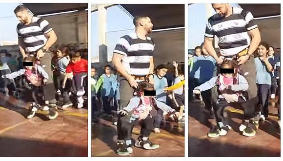 Facebook: Profesor crea arnés para que niña pueda participar en actuación escolar (VIDEO)