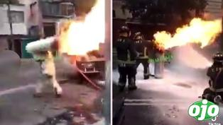 Bombero cargó un balón de gas en llamas para evitar su explosión y se vuelve viral