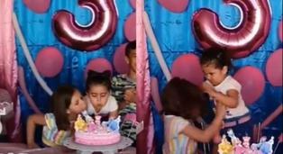 Virales: hermanitas pelean por soplar vela de pastel de cumpleaños