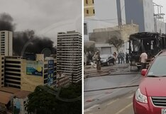 Bus de transporte público termina calcinado tras incendio en plena Av. Petit Thouars   VIDEO