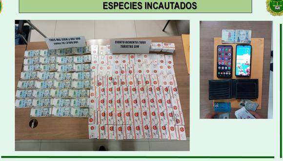 Los Olivos. Policía incautó 180 chips al detenido. (PNP)