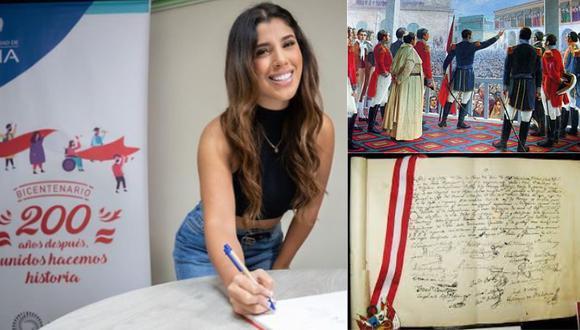 La salsera se sumó a la iniciativa de la MML y firmó el Libro Conmemorativo del Bicentenario de la Independencia. Foto: @munlima/composición