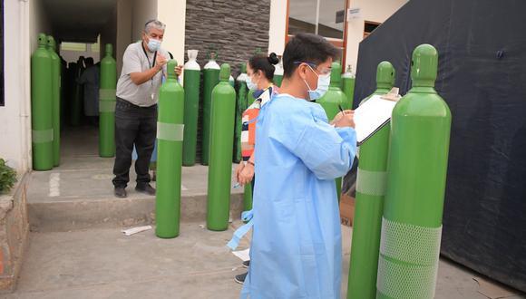 Lambayeque:  el llenado de estos balones estará a cargo de dos empresas privadas, con quienes ya se establecieron los contratos para el suministro permanente de oxígeno. (Foto: Geresa Lambayeque)